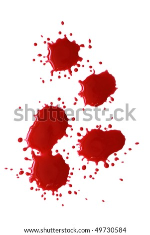 Bloody red blots isolated on white background with clipping path