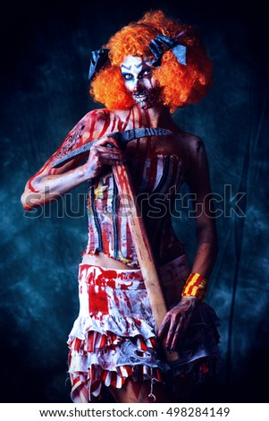 Bloody scary clown. Halloween. Horror.