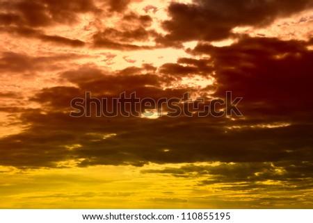 Bloody sunset on a sky - stock photo