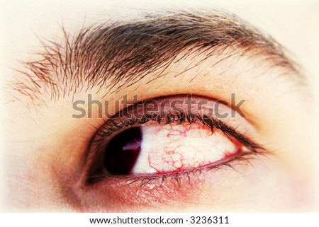 Bloody tired eye. Long computing concept - stock photo