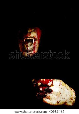 bloody vampire - stock photo