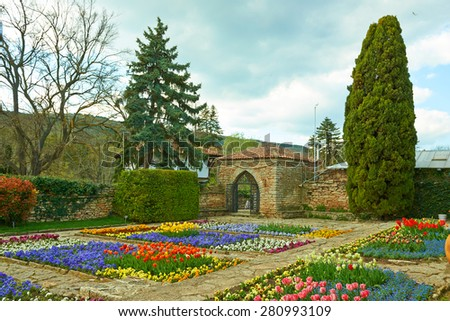 Blooming Botanical Garden in Balchik Bulgaria - stock photo