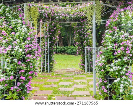 Blooming flower arch with footpath in the garden for wedding background - stock photo