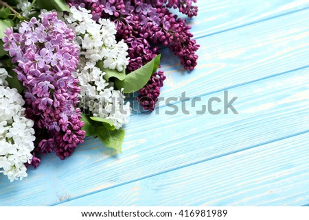 Blooming lilac flowers on a blue wooden table - stock photo