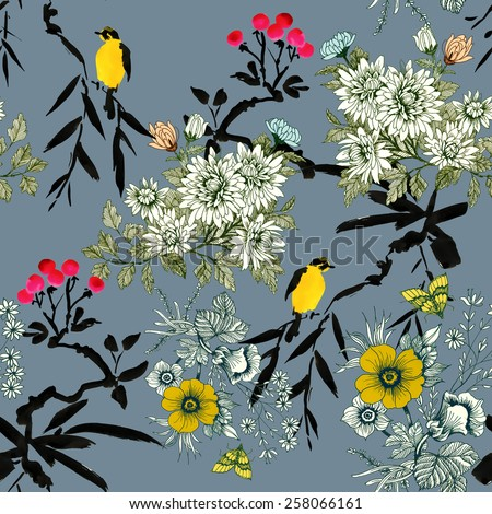 Blooming meadow flowers with rowan, birds and butterflies seamless pattern on gray  background - stock photo