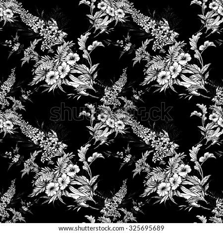 Blooming monochrome flowers seamless pattern on black background - stock photo