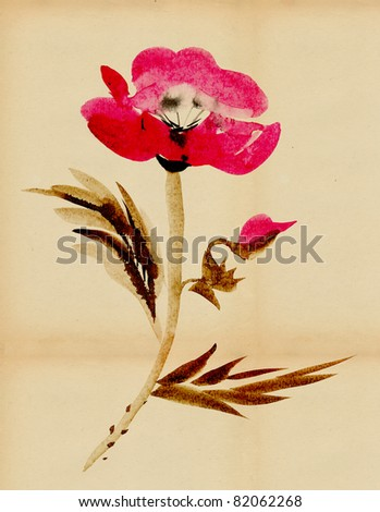 Blooming poppies in the style of sumi e - stock photo