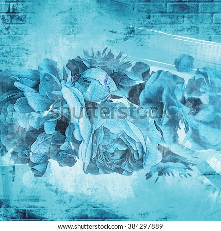 blooming roses art background - stock photo