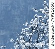 Blooming spring tree background, white flowers over blue sky, textured - stock photo