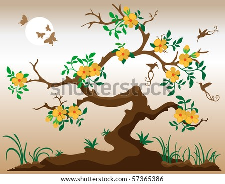 Blooming tree with hummingbirds and butterflies. Deep yellow flowers with orange center. Grass and plants at underneath tree. Bark is in shades of brown. - stock photo