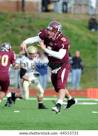 BLOOMSBURG, PA - NOVEMBER 6: Bloomsburg quarterback Pat Carey (#9) follows through on a pass in a game against Kutztown November 6, 2010 in Bloomsburg, PA.