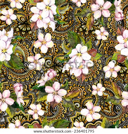 Blossom flowers on decorative ornate wallpaper with gold ornament. Floral repeating pattern.  Water colour - stock photo