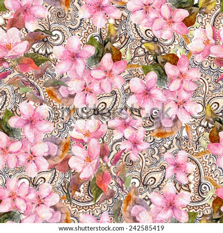 Blossom pink flowers on indian paisley ornament. Repeating seamless floral and ornamental pattern. Watercolor. - stock photo