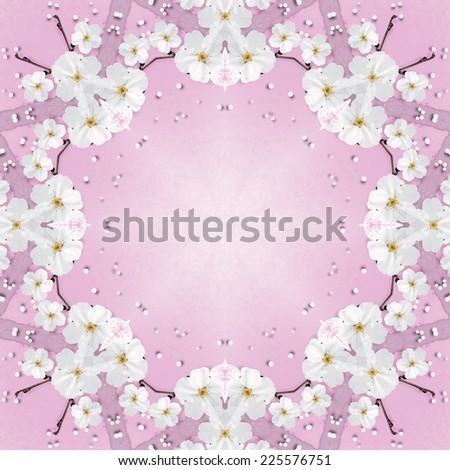 Blossom spring flowers round frame - stock photo