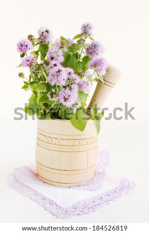 Blossoming bouquet of mint in a wooden mortar - stock photo