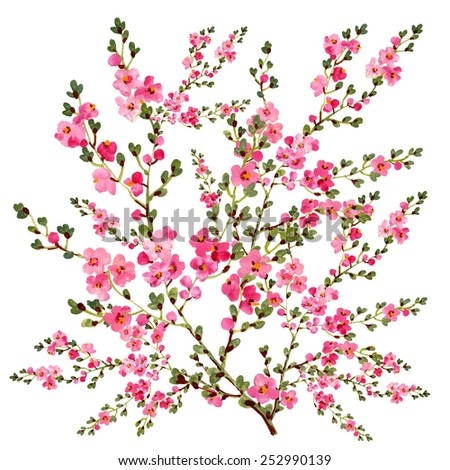 blossoming branch.Handmade paint on paper.Beautiful spring motive for the design and decor. - stock photo