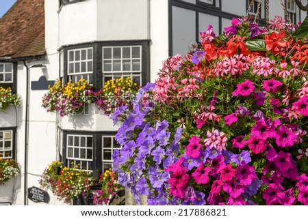 blossoming flowers and old houses, Henley on Thames,  blossoming flowers and, in background, old houses with many flowers on, shot in touristic village on river Thames  - stock photo