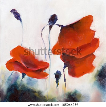 Blossoming poppy and poppy buds drawn by oil color on a canvas - stock photo