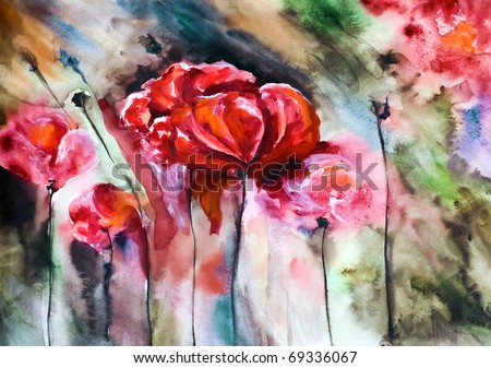 Blossoming poppy and poppy buds drawn by water color color on a water color paper - stock photo