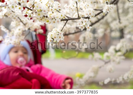Blossoming tree with baby in background - stock photo