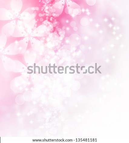 Blossoms and bokeh pastel illustration - stock photo