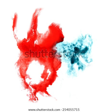 Blot divorce illustration blue, red artist of handwork is isolated on white background