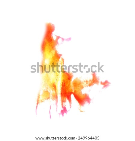 Blot divorce illustration Red, yellow artist of handwork is isolated on white background