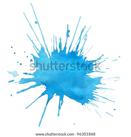 Blot of blue watercolor isolated on white - stock photo