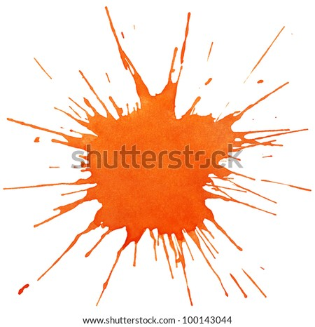 Blot of orange watercolor isolated on white