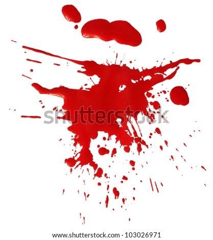 Blot of red blood isolated on white background - stock photo