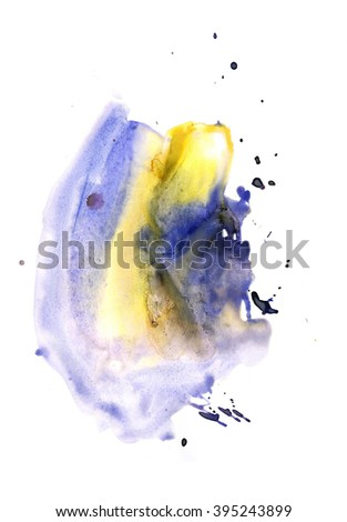 Blot painted with watercolors isolated on a white background