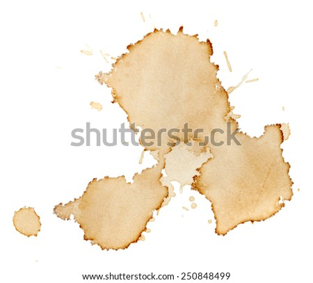Blots of coffee isolated on white background - stock photo