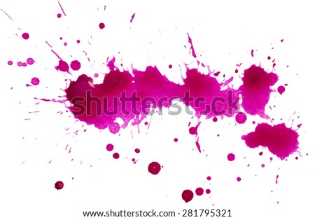 Blots of purple paint isolated on white background - stock photo