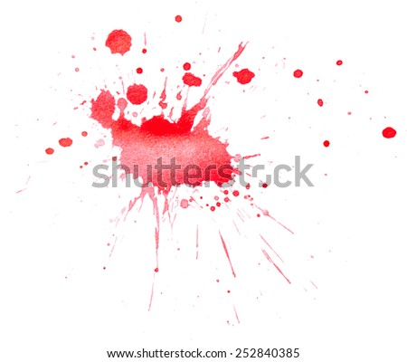 Blots of red paint isolated on white background