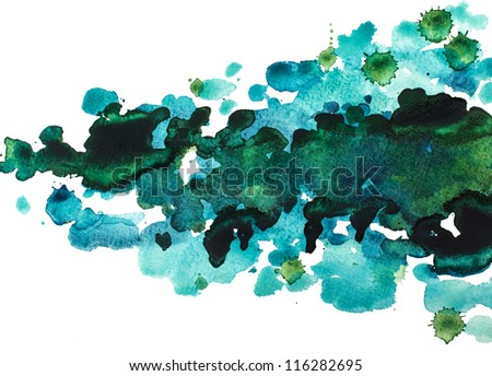 Blots of watercolor paint - stock photo