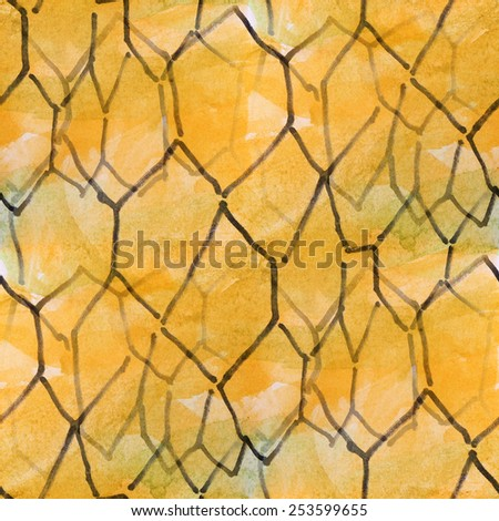 blots orange polygons watercolor painting seamless background - stock photo