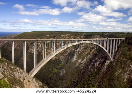 Bloukrans River Bridge on the Garden Route south africa.  A famous place to bungie jump