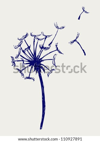 Blow Dandelion. Doodle style. Raster - stock photo