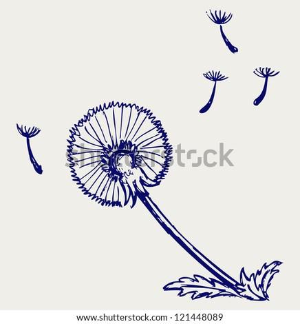 Blow Dandelion. Doodle style. Raster version - stock photo