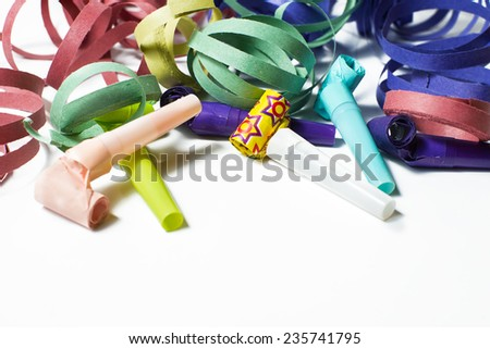 Blowers and serpentine for party - stock photo