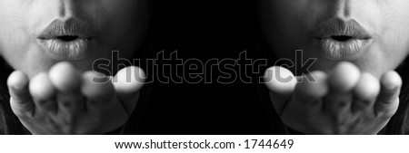 Blowing a kiss x2 - stock photo