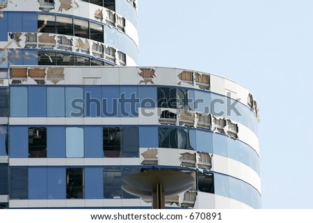 Blown out windows - stock photo