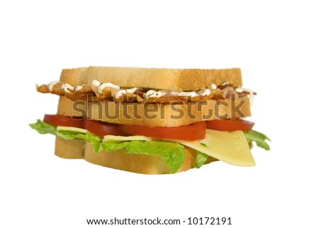 BLT club sandwich edge view