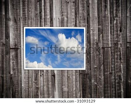 Blu Sky Through the Wall - stock photo