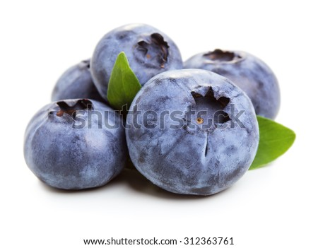 Bluberry fruit with green leaves isolated on white background - stock photo