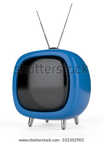 Blue a retro the TV. 3d image. Isolated white background. - stock photo