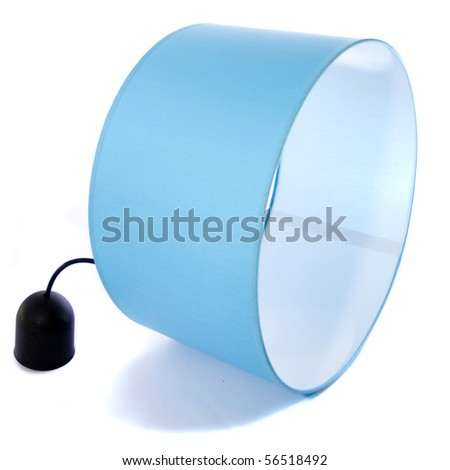 Blue abajour isolated on white, without lamp - stock photo