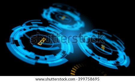 Blue abstract advanced technology control panel user interface. 3D rendering. - stock photo