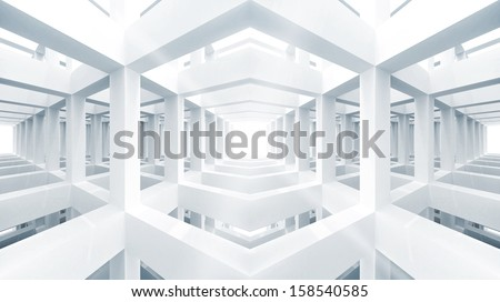 Blue abstract architecture 3d background. Internal space of empty braced construction - stock photo
