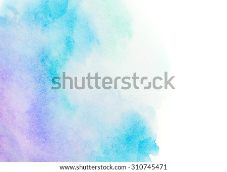 Blue abstract background in watercolor style - stock photo